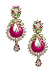 Anouk Pink & Gold Toned Drop Earrings