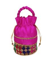 Anouk Pink & Gold-Toned Potli Bag