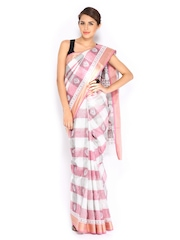 Anouk Pink & Off-White Cotton Traditional Saree