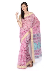 Anouk Pink & White Printed Gadwal Cotton Traditional Saree