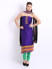 Anouk Purple & Red Chanderi Art Silk Unstitched Dress Material