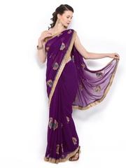 Anouk Purple Embroidered Chiffon Fashion Saree