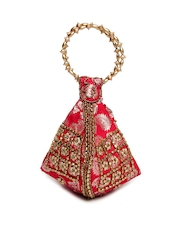 Anouk Red & Gold Toned Potli Bag