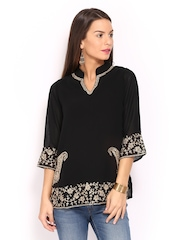 Anouk Rustic Women Black Embroidered Kurti
