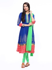 Anouk Rustic Women Blue & Green Anarkali Churidar Kurta with Dupatta