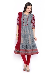 Anouk Rustic Women Blue & Red Printed Anarkali Churidar Kurta with Dupatta