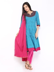 Anouk Women Blue & Pink Printed Anarkali Churidar Kurta with Dupatta