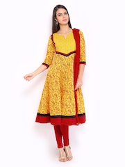 Anouk Rustic Women Yellow & Red Printed Anarkali Churidar Kurta with Dupatta