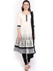 Anouk Women Off-White & Black Anarkali Churidar Kurta with Dupatta