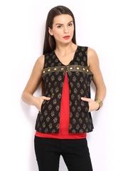 Anouk Rustic Women Black Printed Sleeveless Waistcoat