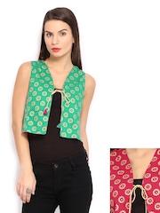 Anouk Rustic Women Green & Pink Printed Sleeveless Reversible Waistcoat