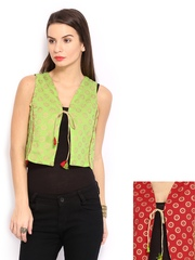 Anouk Rustic Women Green & Red Printed Sleeveless Reversible Waistcoat
