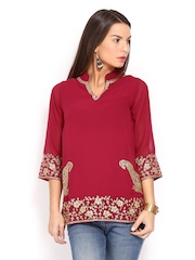 Anouk Rustic Women Maroon Embroidered Kurti