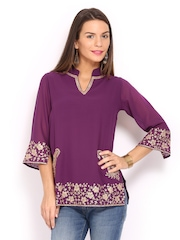 Anouk Rustic Women Purple Embroidered Kurti