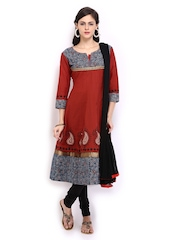 Anouk Rustic Women Red & Black Printed Anarkali Churidar Kurta with Dupatta