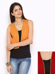 Anouk Rustic Reversible Women Orange Hand Mirror Work Waistcoat