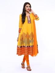 Anouk Rustic Women Yellow & Orange Anarkali Churidar Kurta with Dupatta