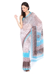 White & Brown Georgette Printed Saree Anouk