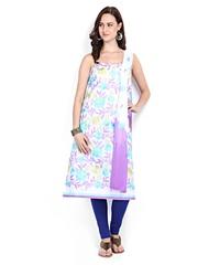 Anouk White & Lavender Cotton Unstitched Dress Material