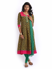Anouk Women Black & Green Anarkali Churidar Kurta with Dupatta