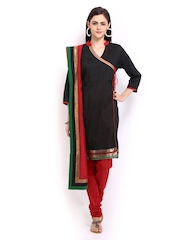 Anouk Women Black & Red Silk Blend Churidar Kurta with Dupatta