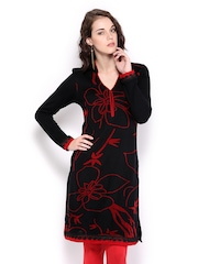Anouk Women Black & Red Woollen Kurta