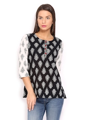 Anouk Women Black & White Printed Kurti