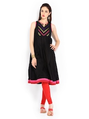 Anouk Women Black Anarkali Kurta