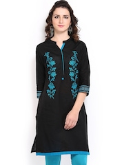 Anouk Women Black Embroidered Kurta