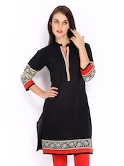 Anouk Women Black Kurta