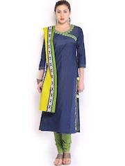 Anouk Women Blue & Green Churidar Kurta with Dupatta
