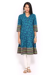 Anouk Women Blue & Sea Green Printed Anarkali Kurta