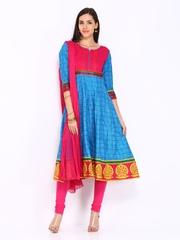 Anouk Women Blue & Pink Printed Anarkali Churidar Kurta with Dupatta
