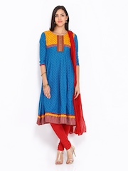 Anouk Women Blue & Red Printed Anarkali Churidar Kurta with Dupatta
