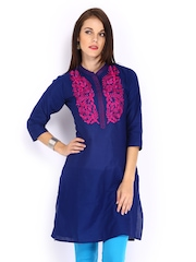 Anouk Women Blue Embroidered Kurta