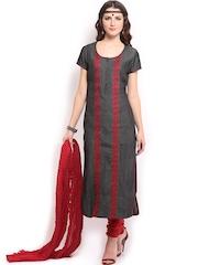 Anouk Women Charcoal Grey Denim Embroidered Churidar Kurta with Dupatta