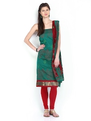 Anouk Green & Maroon Printed Art Silk Unstitched Dress Material