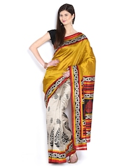 Anouk Mustard Brown & Dark Beige Bhagalpuri Art Silk Fashion Saree