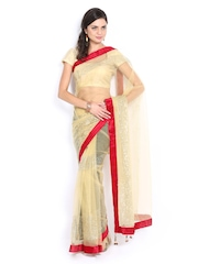 Anouk Beige Super Net Fashion Saree