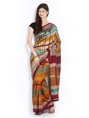 Anouk Multi-Coloured Printed Crepe Fashion Saree