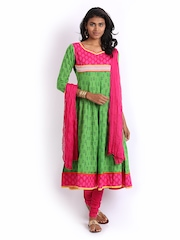 Anouk Women Green & Pink Anarkali Churidar Kurta with Dupatta