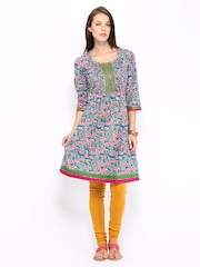 Anouk Women Blue & Pink Printed Kurta