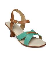 Women Green & Tan Brown Heels Anouk