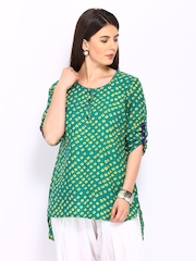Anouk Women Green & Yellow Printed Kurti
