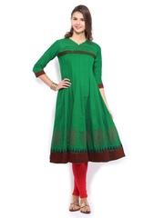 Anouk Women Green Anarkali Kurta