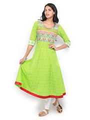 Anouk Women Green Anarkali Printed Kurta