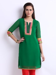 Anouk Women Green Kurta