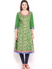 Anouk Women Green Printed Anarkali Kurta