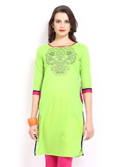 Anouk Women Green Printed Kurta