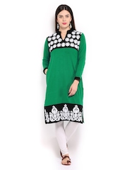 Anouk Women Green & Black Woollen Kurta